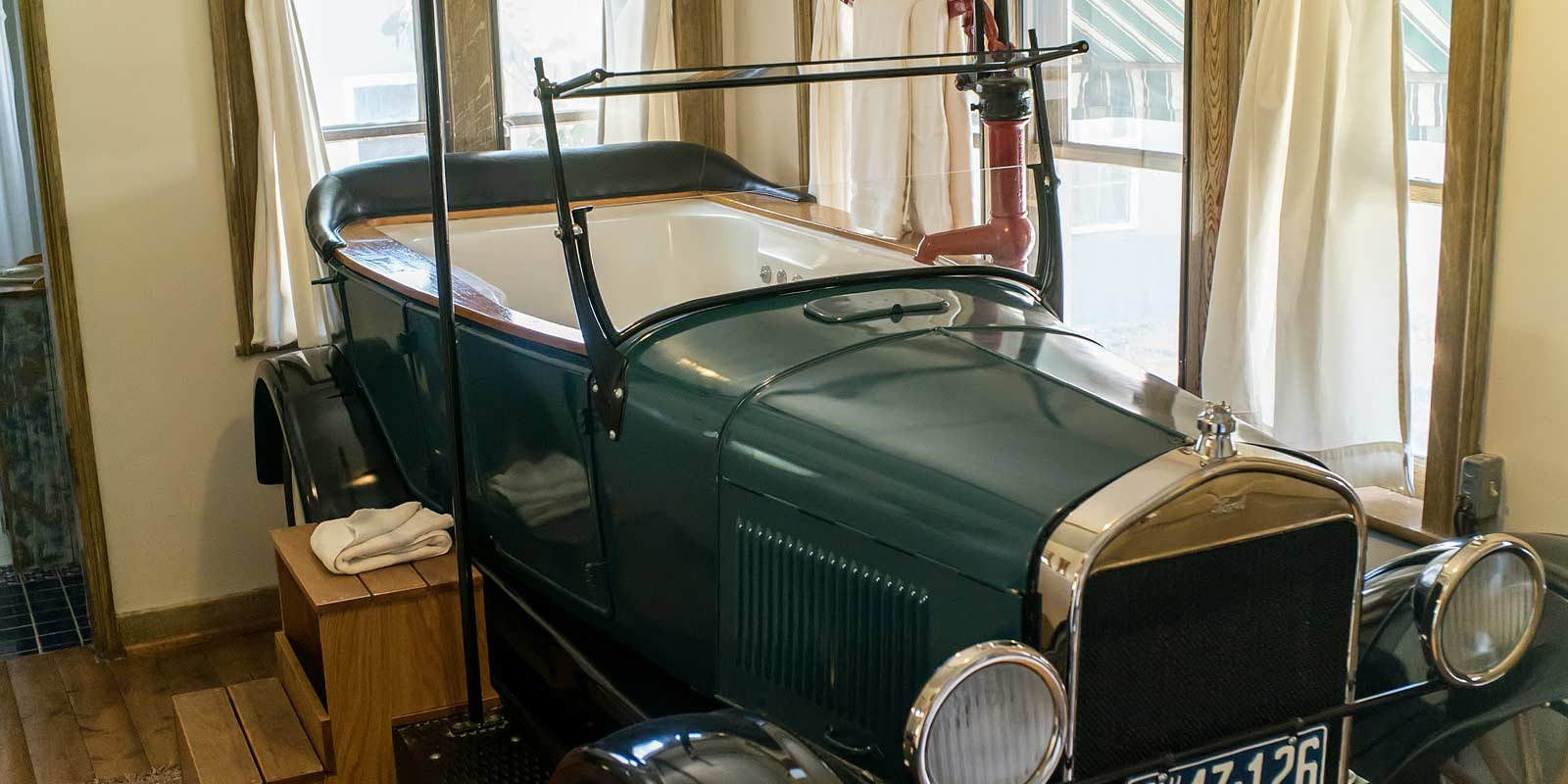 Fun Model-T Whirlpool Tub in the Phileas Fogg Suite